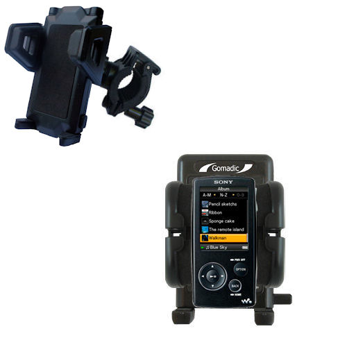 Gomadic Bike Handlebar Holder Mount System suitable for the Sony Walkman NWZ-A805 - Unique Holder, Lifetime Warranty