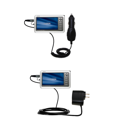 Gomadic Car and Wall Charger Essential Kit suitable for the Cowon iAudio A2 Portable Media Player - Includes both AC Wall and DC Car Charging Options with TipExchange