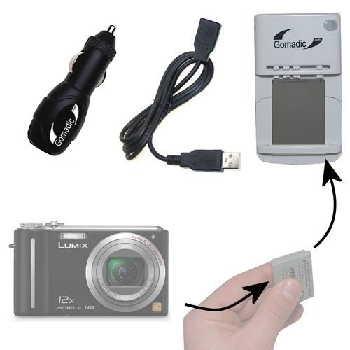 Lithium Battery Fast Charger compatible with the Panasonic Lumix DMC-ZS3