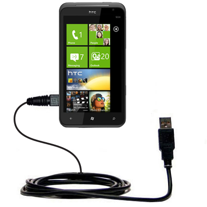 Classic Straight USB Cable suitable for the HTC Titan with Power Hot Sync and Charge Capabilities - Uses Gomadic TipExchange Technology