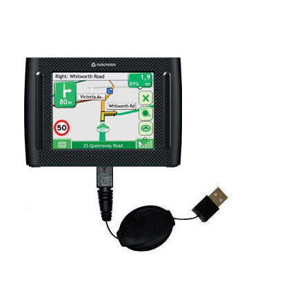 Retractable USB Power Port Ready charger cable designed for the Navman F35 and uses TipExchange